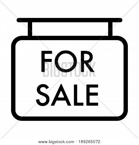 For sale symbol simple vector icon. Black and white illustration of sale. Outline linear house for sale icon. eps 10