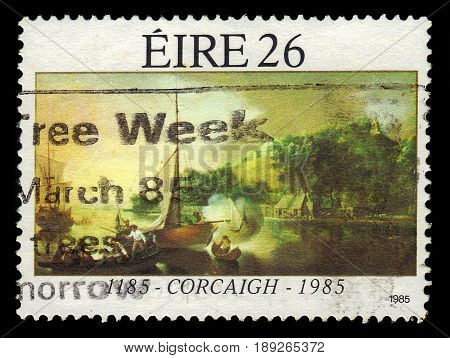 IRELAND - CIRCA 1985: A stamp printed in Ireland shows landscape with boats in Cork, painting by Nathaniel Grogan, 800th anniversary of Cork, circa 1985