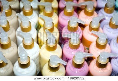 shelf full of cosmetic products