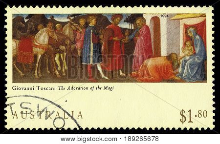 AUSTRALIA - CIRCA 1994: A stamp printed in Australia shows Adoration of the Magi, painting by Giovanni Toscani, Christmas, circa 1994