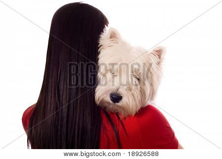 young woman with West Highland White Terrier (isolated on white)