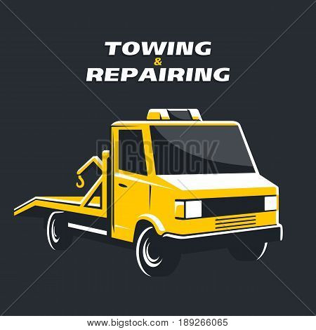 Yellow tow truck on black background. Vector isolated illustration