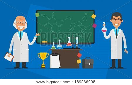 Concept Professor Is His Assistant and Chalkboard With Different Objects. Vector Illustration. People Character.