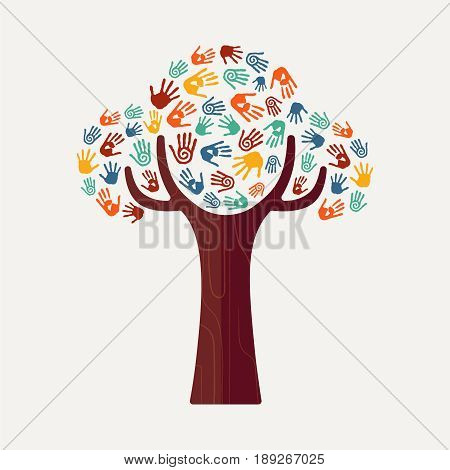 Hand Print Tree For Culture Diversity And Help