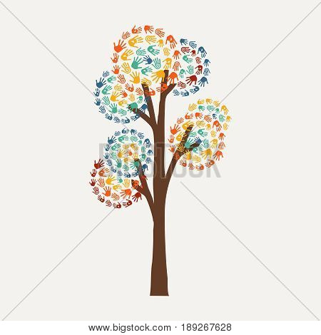 Hand Print Tree Concept For Community Help