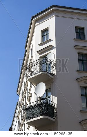 balconies with satellite dishes in Berlin Kreuzberg