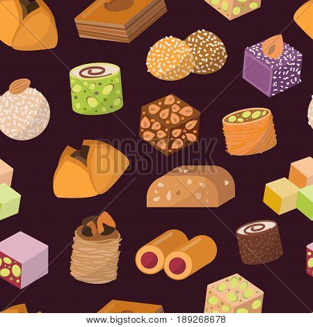 Collection of east delicious dessert isolated on white background. Sweets food confectionery homemade assortment. Chocolate cake tasty bakery assortment seamless pattern