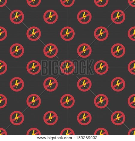 Prohibition sign seamless pattern industry production vector illustration warning danger symbol forbidden safety information and protection no allowed caution information. Yellow red risk circle.
