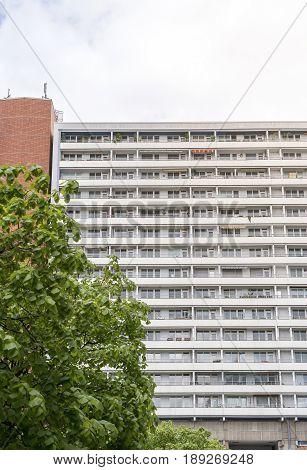 social housing skyscraper in Berlin Mitte with tree