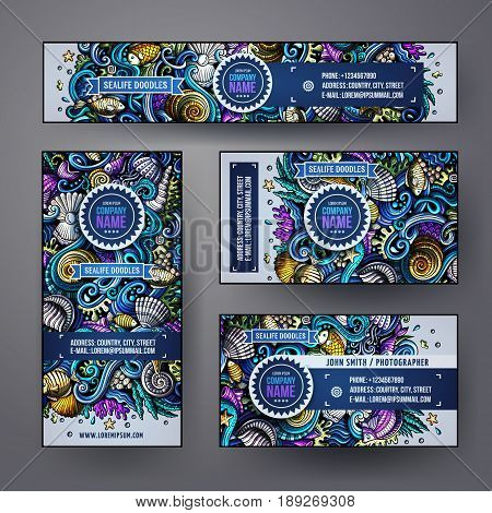 Corporate Identity vector templates set design with doodles hand drawn Underwater life theme. Colorful banner, id cards, flayer design. Templates set