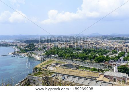 Panoramic aerial view of  Kerkyra, Corfu island in Greece. View from Old Fortress.