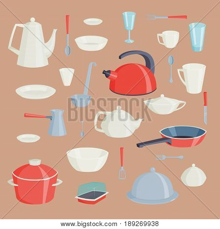 Set of kitchen utensils food kitchenware cooking battery domestic tableware vector illustration. Restaurant or household appliance equipment dishware.