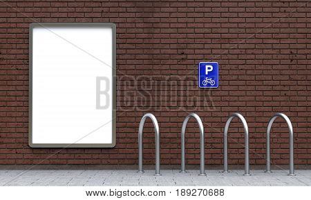 White street poster billboard with blank copy space and empty outdoor bike parking with bicycle sign on brick wall. 3D illustration