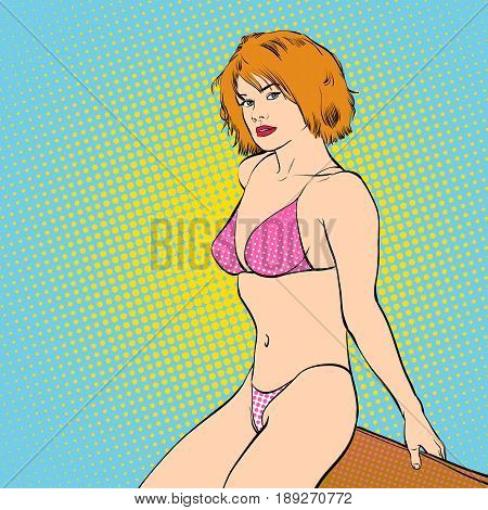 Sexy young in a swimming suit. Beautiful young woman. Woman in a dream. Woman in hope. Concept idea of advertisement. Pop art. Halftone background.