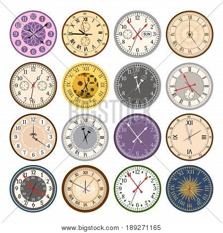 Colorful clock faces vintage and time modern parts index dial watch arrows numbers dial face vector illustration. Measurement pointer circle clockwork.