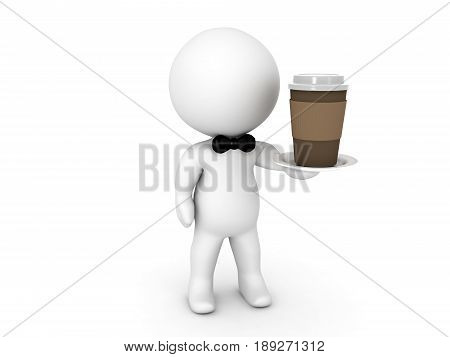 3D illustration of waiter serving coffee. Image showing coffee shop service.
