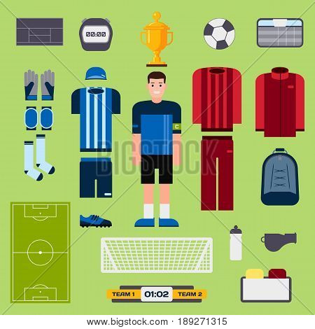 Football elements soccer player uniform clothing and symbols sport game vector illustration. Goal competition play field stadium match championship.