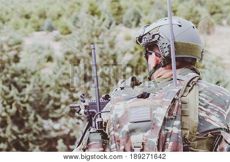 Radio Operator Aim Target With Machine Gun M 249