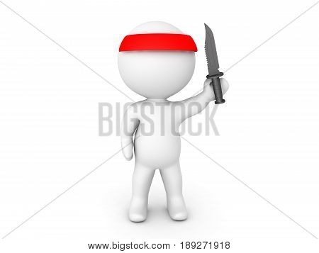 3D illustratrion of jungle warrior guerrila soldier with red bandana holding army knife. Image of jungle combat.