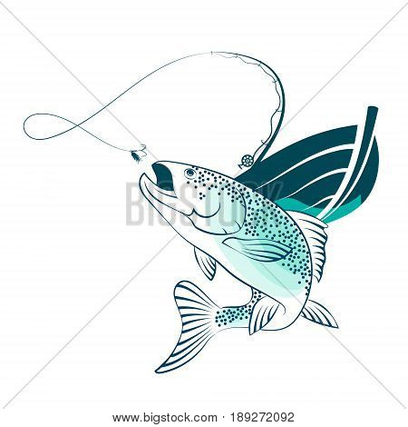 Fish jumping for bait and fishing boat