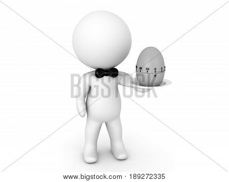 3D Character holding a pomodor egg timer on a plate. Funny image relating to time management.