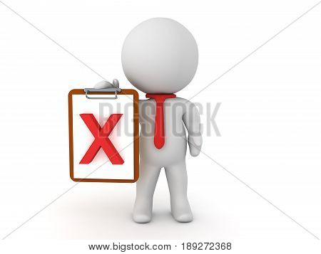 3D Character holding a clipboard with a red x mark. An image depicting failure.