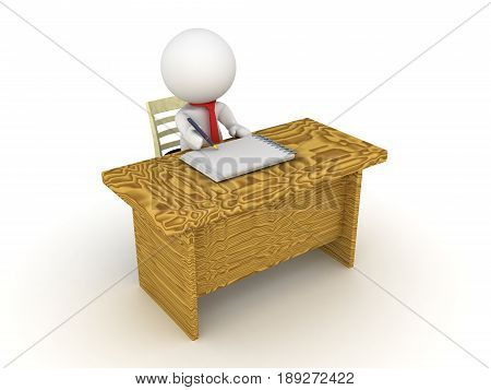 3D Character sitting at an office desk and writing on a paper with a fountain pen.