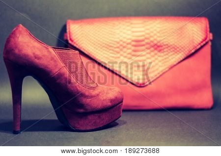 Red Heels Stilettos With Red Bag Cold Chain Back Ground