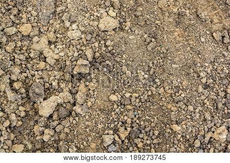 Close up texture of rough broun soil