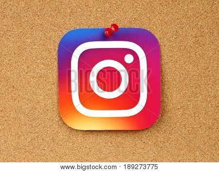 Kiev Ukraine - January 24 2017: Instagram logo printed on paper and pinned on cork background. Instagram is an online mobile photo-sharing video-sharing service