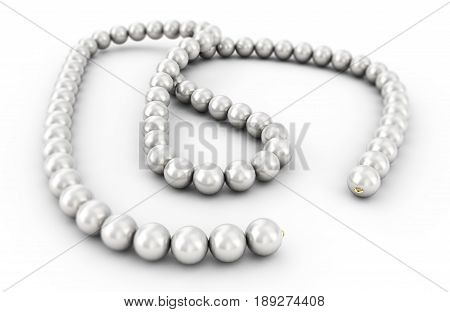 pearl necklace isolated 3d rendering Elegant, Shadow, Gradient, Realistic, Shell, Orb