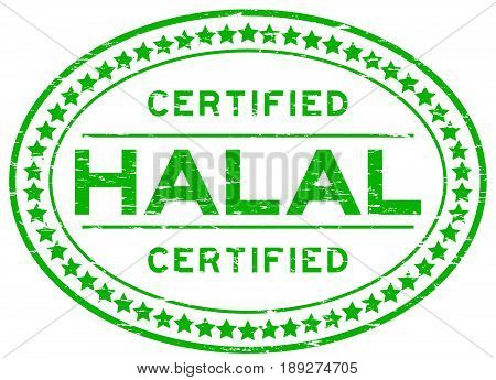 Grunge green halal certified oval rubber seal stamp on white background