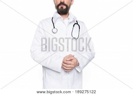Cropped View Of Adult Bearded Doctor In White Coat With Stethoscope Isolated On White