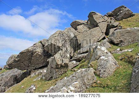 Granite rocks on Sourton Tor, Dartmoor, Devon