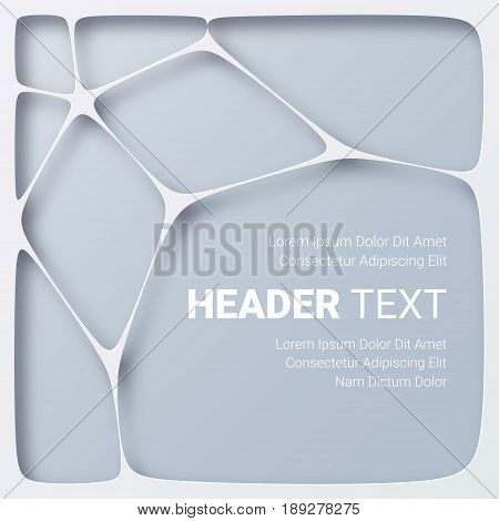 Paper art. 3D abstract white and gray background with cut out shapes. Origami illustration Vector layered design for flyer, poster, business presentation, invitation template Carving layout, applique