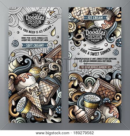 Cartoon cute colorful vector doodles ice cream corporate identity. 2 vertical banners design detailed with lots of separated objects. Templates set