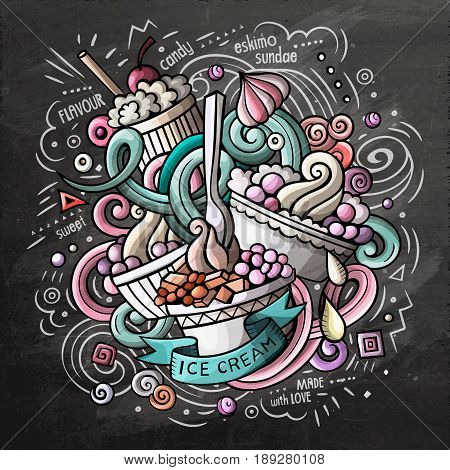 Ice Cream art cartoon vector doodle illustration. Chalkboard colorful detailed design with lot of objects and symbols. All elements separate
