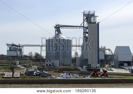 Elevator on modern sugar factory. Factory landscape. Industry