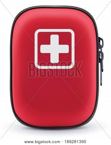 First Aid Red Bag Isolated on White. Vector 3d illustration