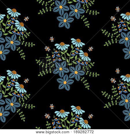 Seamless pattern with embroidery stitches imitation blue flower and green leaf. Floral embroidery pattern vector background for printing on fabric paper for scrapbook gift wrap.