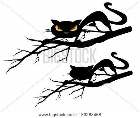 halloween theme evil black cat on a tree branch - vector design set