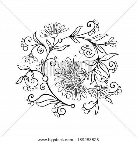 Outline vintage flowers bouquet or pattern in rococo, victorian, renaissance, baroque, royal style. Coloring page. Stock line vector illustration.