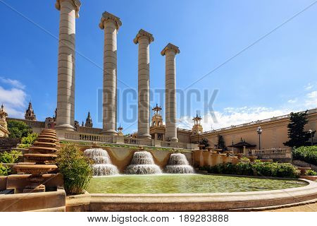 Ancient columns of Montjuic fountain in Barcelona town, Catalonia, Spain poster