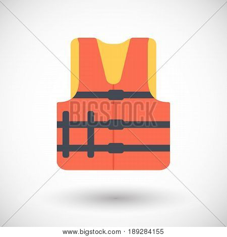 Life jacket icon Flat design of swimming safety with round shadow vector illustration