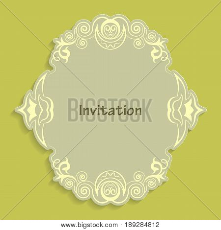 Template cut out of paper cards with kaligraficheskim gold pattern. Design a wedding invitation or an invitation to another event. Vintage label for different goods. Vector billet for laser cutting.
