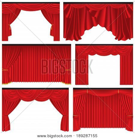 Set of red luxury curtains and draperies on white background realistic vector illustration