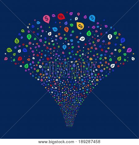 Banking Map Marker salute stream. Vector illustration style is flat bright multicolored iconic symbols on a blue background. Object explosion fountain made from random pictograms.