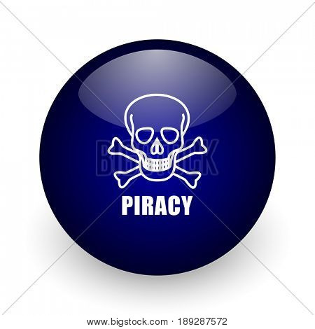 Piracy skull blue glossy ball web icon on white background. Round 3d render button.
