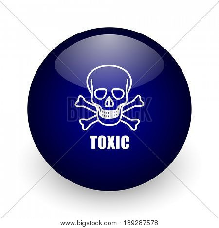 Toxic skull blue glossy ball web icon on white background. Round 3d render button.