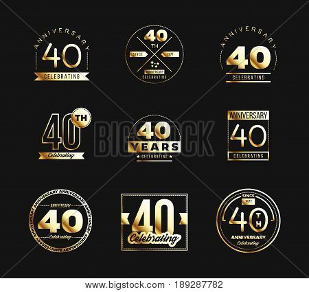 40th anniversary logo set with golden elements. Vector illustration.
